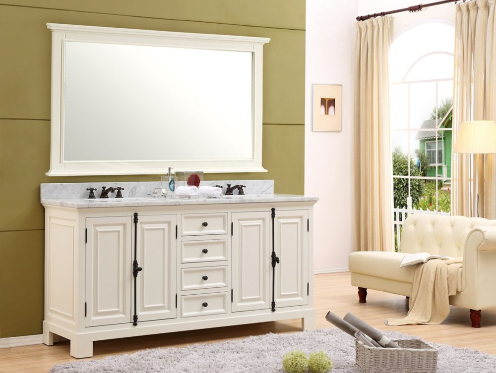 Water Creation Greenwich 60-inch W Vanity in Antique White with Marble Top in Carrara White