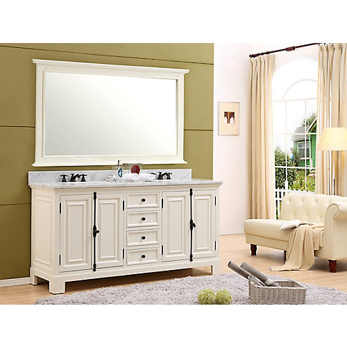 Greenwich 72-inch W Vanity in Antique White with Marble Top in Carrara White