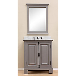 Water Creation Greenwich 30-inch W Vanity in Gray with Marble Top in Carrara White and Matching Mirror