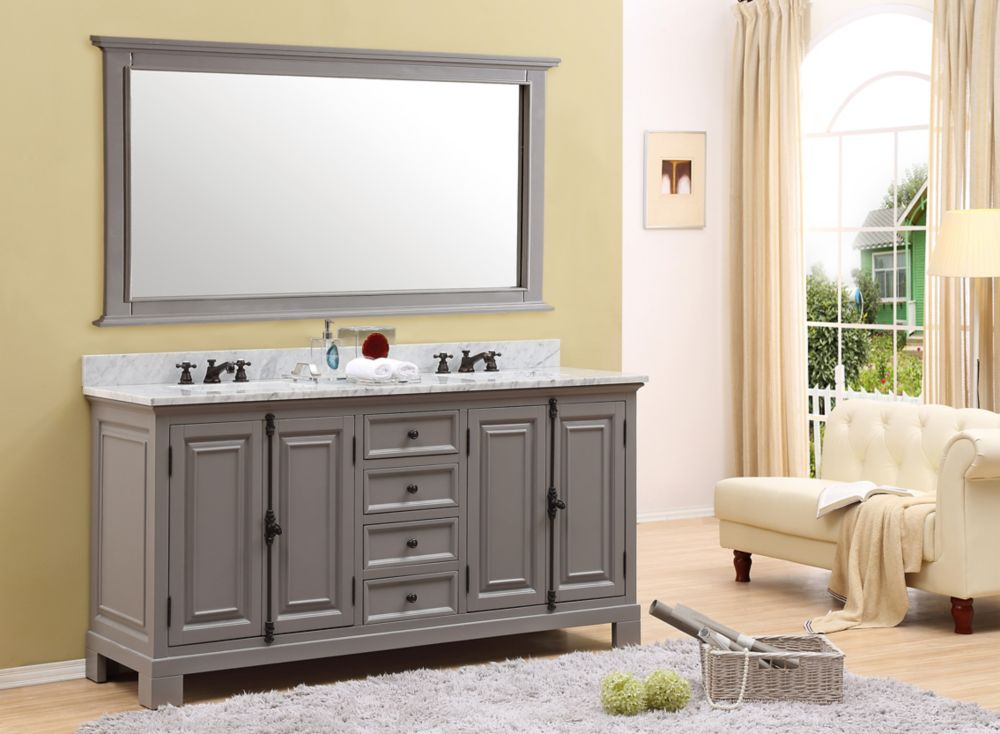 Water Creation Greenwich 60 Inch W Vanity In Gray With Marble Top In Carrara White The Home