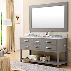 Madalyn 60-inch W Vanity in Gray with Marble Top in Carrara White