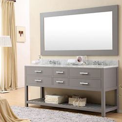 Water Creation Madalyn 72-inch W Vanity in Gray with Marble Top in Carrara White