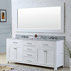 Madison 60-inch W Vanity in White with Marble Top in Carrara White and Matching Mirror