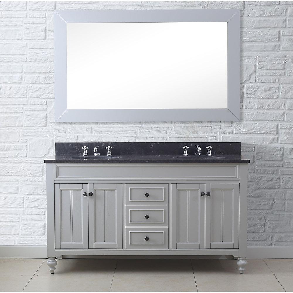Potenza Meuble Lavabo De 60po Comte Gris Comptoir En Granit Calcaire Bleu Et Miroir Assorti