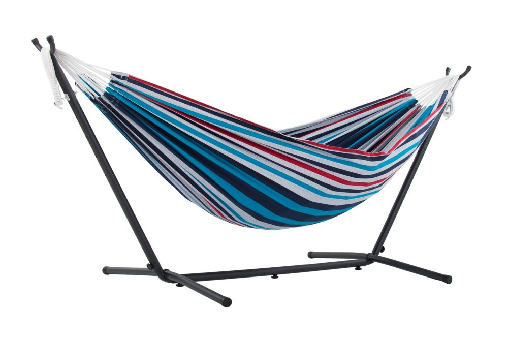 Vivere Ltd Double Denim Hammock with Stand (9 ft. )