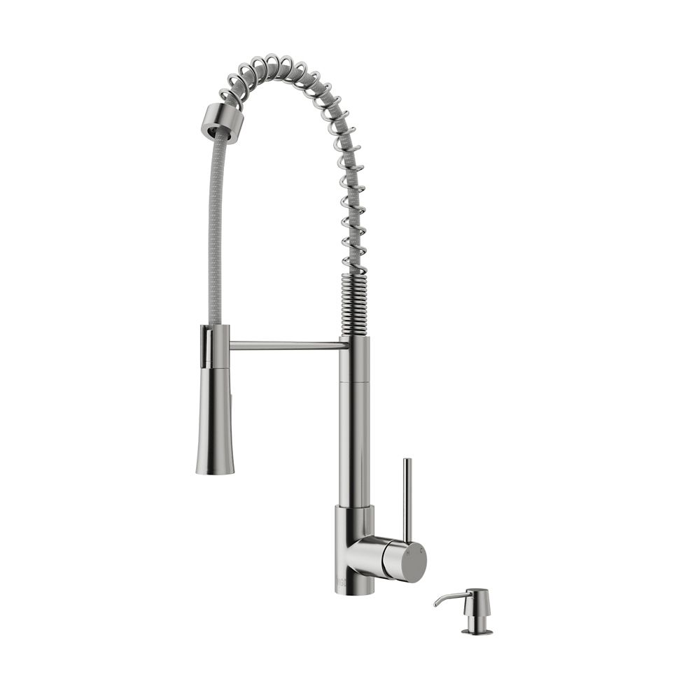 Vigo Laurelton Pull-Down Spray Kitchen Faucet With Soap Dispenser In Stainless Steel