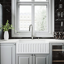VIGO All-in-One Farmhouse Apron Front Matte Stone 30 inch 0-Hole Single Bowl Kitchen Sink with Faucet in Stainless Steel