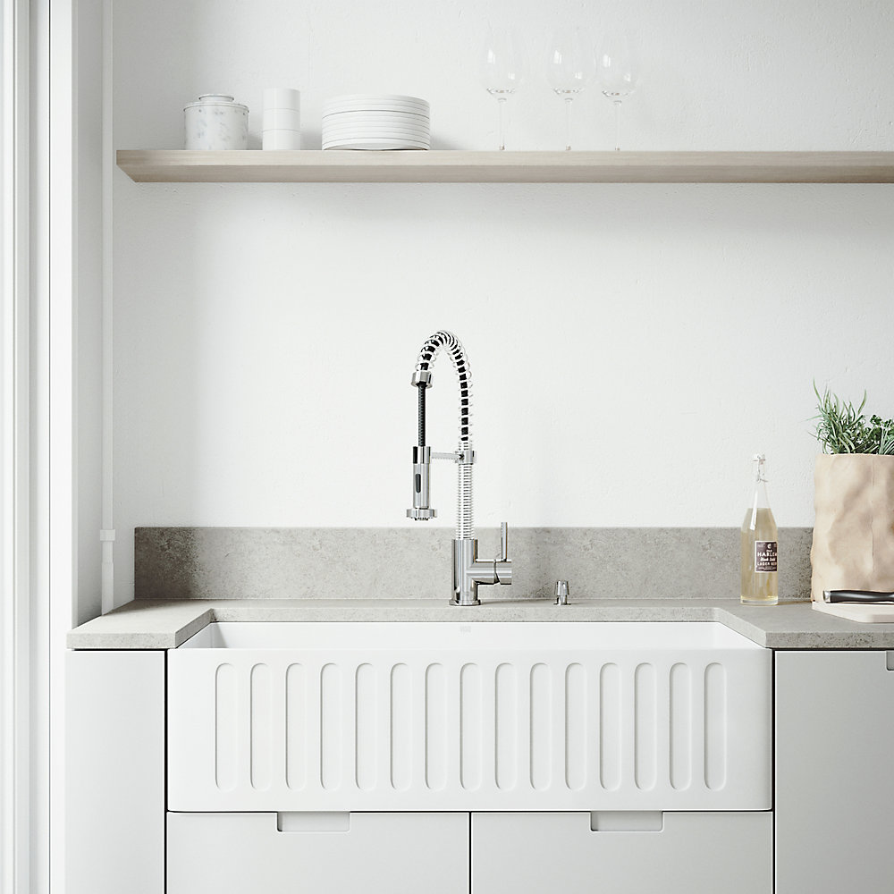 Pleasing All In One 36 Inch Matte Stone Single Bowl Undermount Kitchen Sink With Pull Down Faucet In Chrome And Soap Dispenser Interior Design Ideas Gentotryabchikinfo