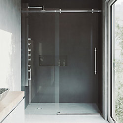 VIGO Luca 56 to 60 inch x 78.75 inch Frameless Sliding Shower Door in Chrome with Clear Glass and Handle