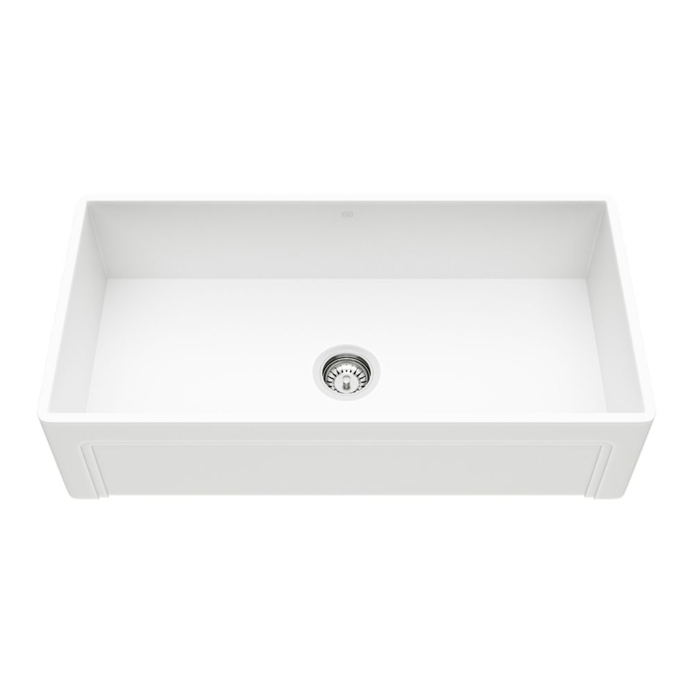 Vigo 36 inch Casement Front Matte Stone Farmhouse Kitchen Sink