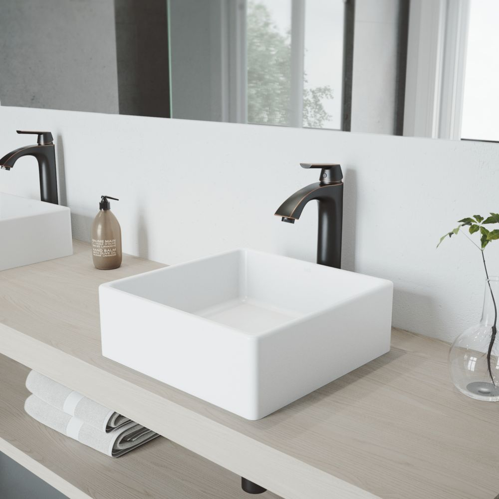 Vigo Dianthus Matte Stone Vessel Bathroom Sink Set And Linus Vessel Faucet In Antique Rubbed Bronze