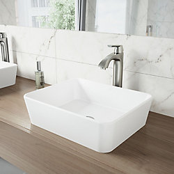 VIGO Marigold White Matte Stone Vessel Bathroom Sink and Linus Bathroom Vessel Faucet in Brushed Nickel