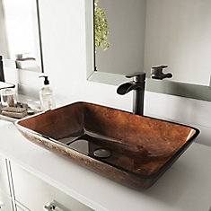22 inch Rectangular Glass Vessel Bathroom Sink Set with Niko Vessel Faucet in Antique Rubbed Bronze