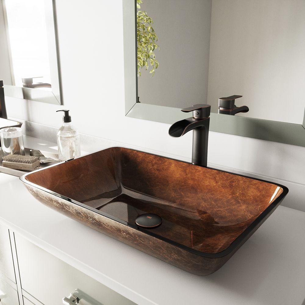 Vigo 22 inch Rectangular Glass Vessel Bathroom Sink Set with Niko Vessel Faucet in Antique Rubbed Bronze