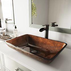 VIGO Glass Vessel Bathroom Sink in Russet and Niko Faucet Set in Antique Rubbed Bronze