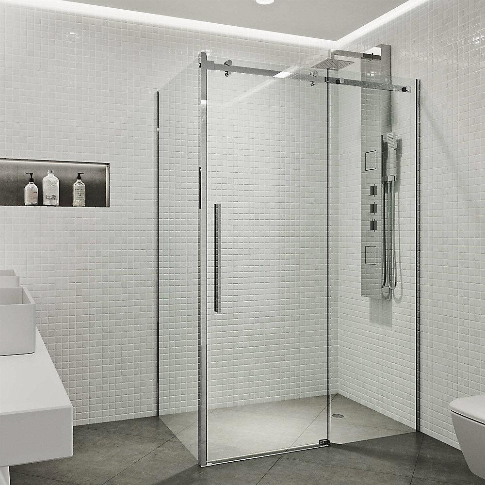 Alameda 48 inch x 74 inch Frameless Sliding Shower Enclosure in Chrome