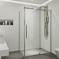 VIGO Alameda 48 inch x 74 inch Frameless Sliding Shower Enclosure in Stainless Steel