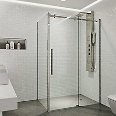 Alameda 32X48 Frameless Sliding Door Shower Enclosure In Stainless Steel