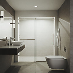 VIGO Ferrara 59-1/2 to 60-1/2 inch x 74 inch Frameless Sliding Shower Door in Stainless Steel with Clear Glass and Handle