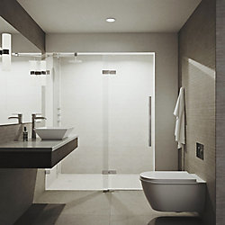 VIGO Rochelle 48X74 Adjustable Frameless Hinged Shower Door In Chrome