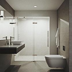VIGO Rochelle 48X74 Adjustable Frameless Hinged Shower Door In Stainless Steel