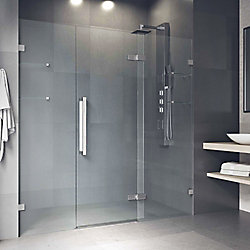 VIGO Seneca 71-1/4 to 72-3/4 inch x 74 inch Frameless Hinged Shower Door in Chrome with Clear Glass and Handle