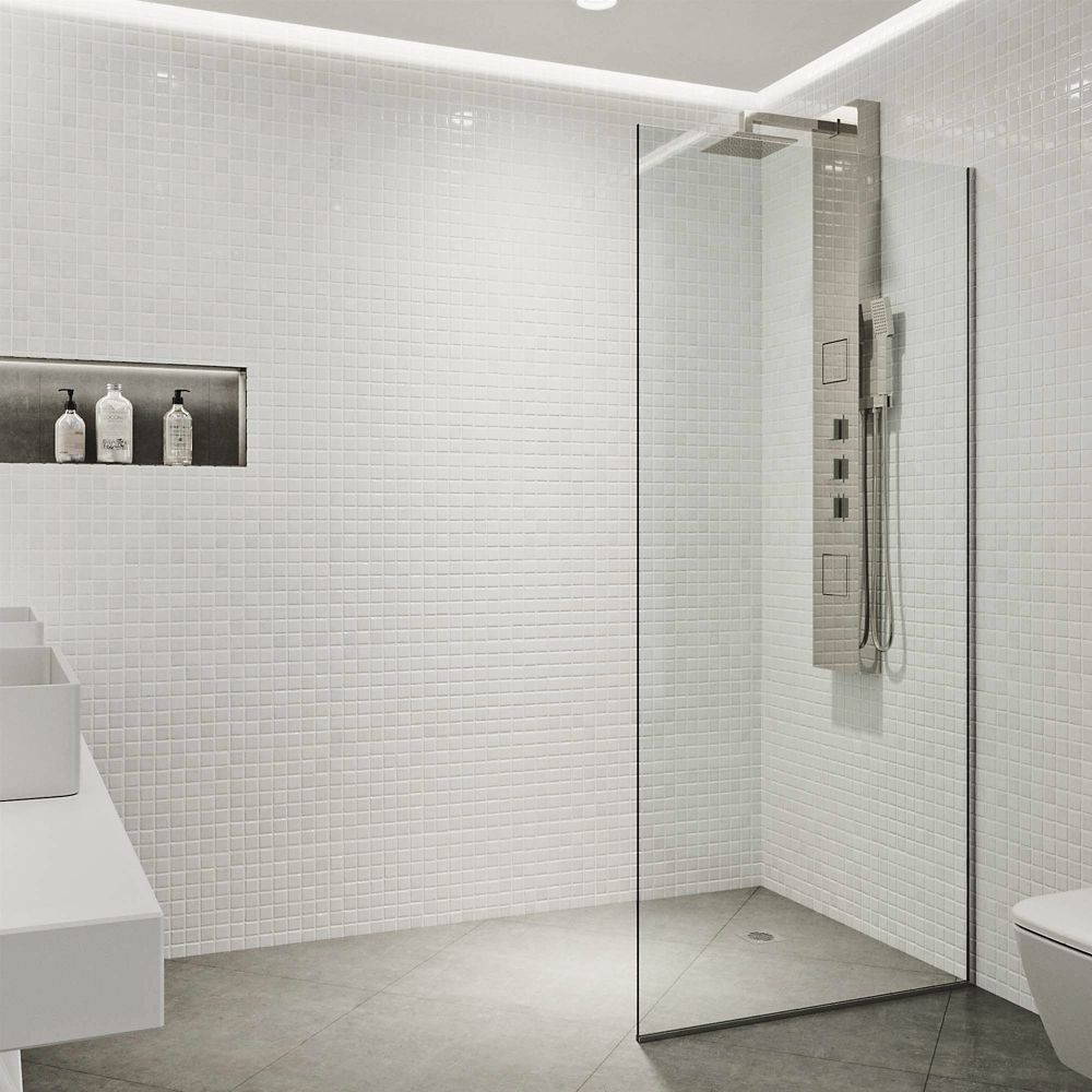 Vigo Zenith 34x74 Frameless Fixed Glass Panel Shower
