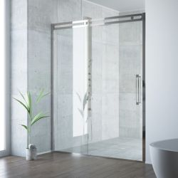 VIGO Erie 59-1/2 to 60-1/2 inch x 73.5 inch Framed Sliding Shower Door in Stainless Steel with Clear Glass and Handle