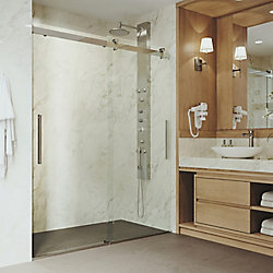 VIGO Caspian 59 to 61 inch x 73.5 inch Frameless Sliding Shower Door in Stainless Steel with Clear Glass and Handle