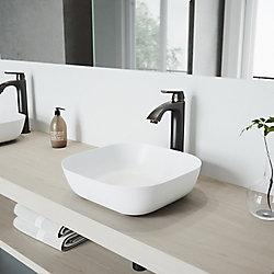 VIGO Camellia White Matte Stone Vessel Bathroom Sink Set With Linus Vessel Faucet in Antique Rubbed Bronze
