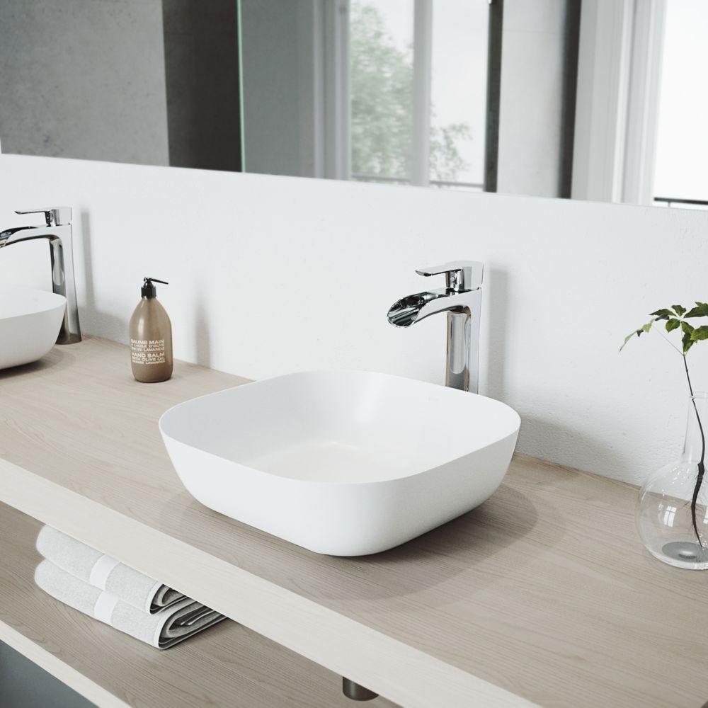 Vigo Camellia Matte Stone Vessel Bathroom Sink Set With Niko Vessel Faucet In Chrome