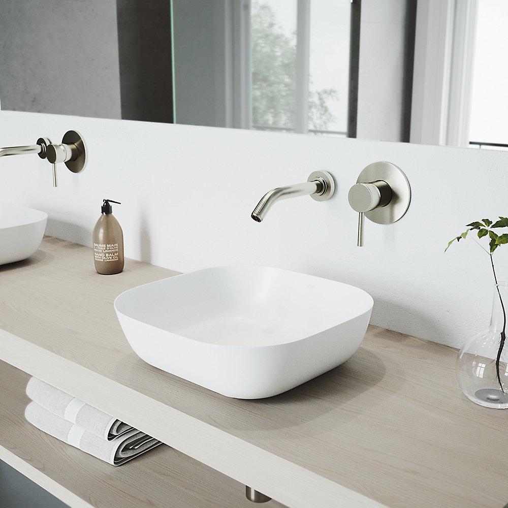 Ensemble de vasque de salle de bains en pierre Camellia de avec robinet  mural en nickel brossé Olus