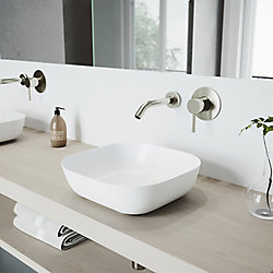 VIGO Camellia White Matte Stone Vessel Bathroom Sink Set With Olus Wall Mount Faucet In Brushed Nickel