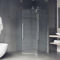 VIGO Ontario 42 inch x 74 inch Adjustable Frameless Neo-Angle Hinged Corner Shower Door in Chrome with Handle