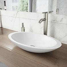 Ensemble de vasque de salle de bains en pierre Wisteria de  et robinet au fini nickel brossé Seville