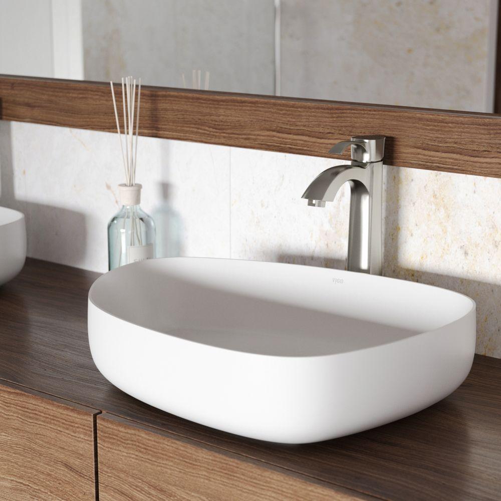Vigo Peony Matte Stone Vessel Sink in White with Otis Vessel Faucet in Brushed Nickel