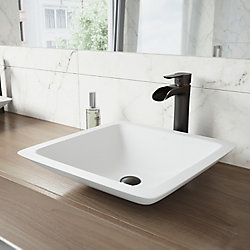VIGO Begonia Matte Stone Vessel Bathroom Sink in White with Niko Vessel Faucet in Antique Rubbed Bronze