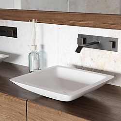VIGO Begonia Matte Stone Vessel Bathroom Sink in White with Titus Wall Mount Faucet in Antique Rubbed Bronze