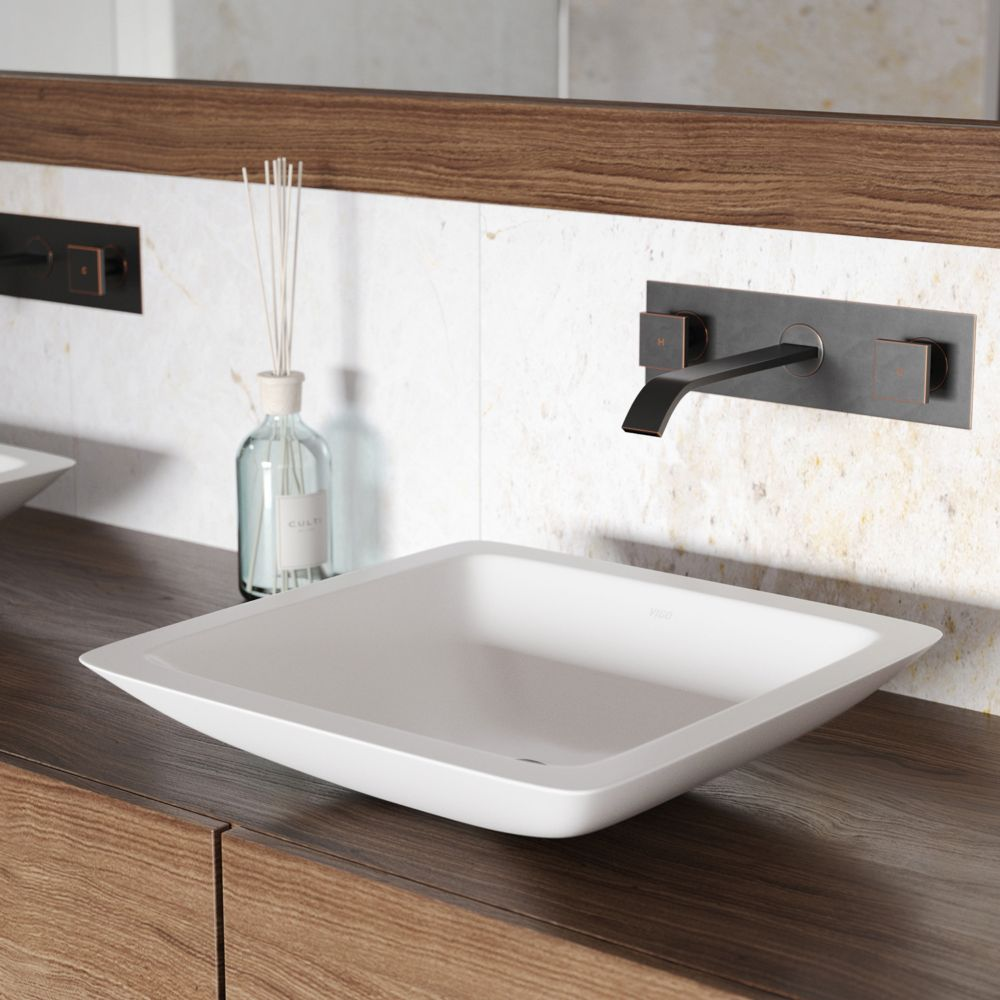 Vigo Begonia Matte Stone Vessel Bathroom Sink With Titus Wall Mount Faucet In Antique Rubbed Bronze