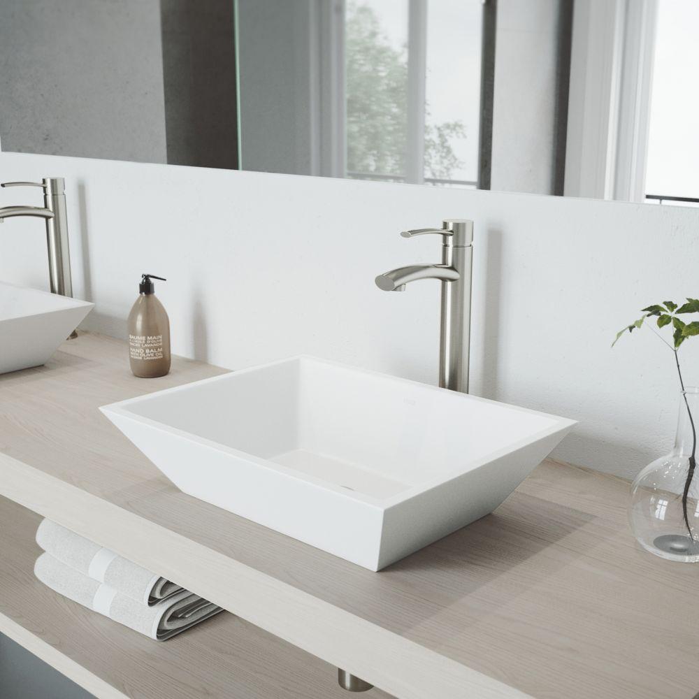 vigo begonia vasque en pierre mate pour la salle de bains avec robinet home depot canada. Black Bedroom Furniture Sets. Home Design Ideas