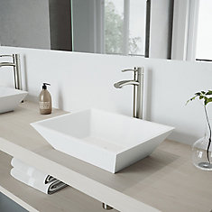 Vinca Matte Stone Vessel Bathroom Sink With Milo Vessel Faucet in Brushed Nickel