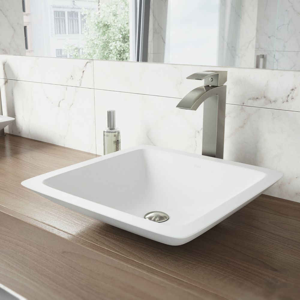 Vigo Begonia Matte Stone Vessel Bathroom Sink With Duris Vessel Faucet In Brushed Nickel
