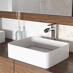 VIGO Jasmine Matte Stone Bathroom Vessel Bathroom Sink in White with Niko Vessel Faucet in Chrome