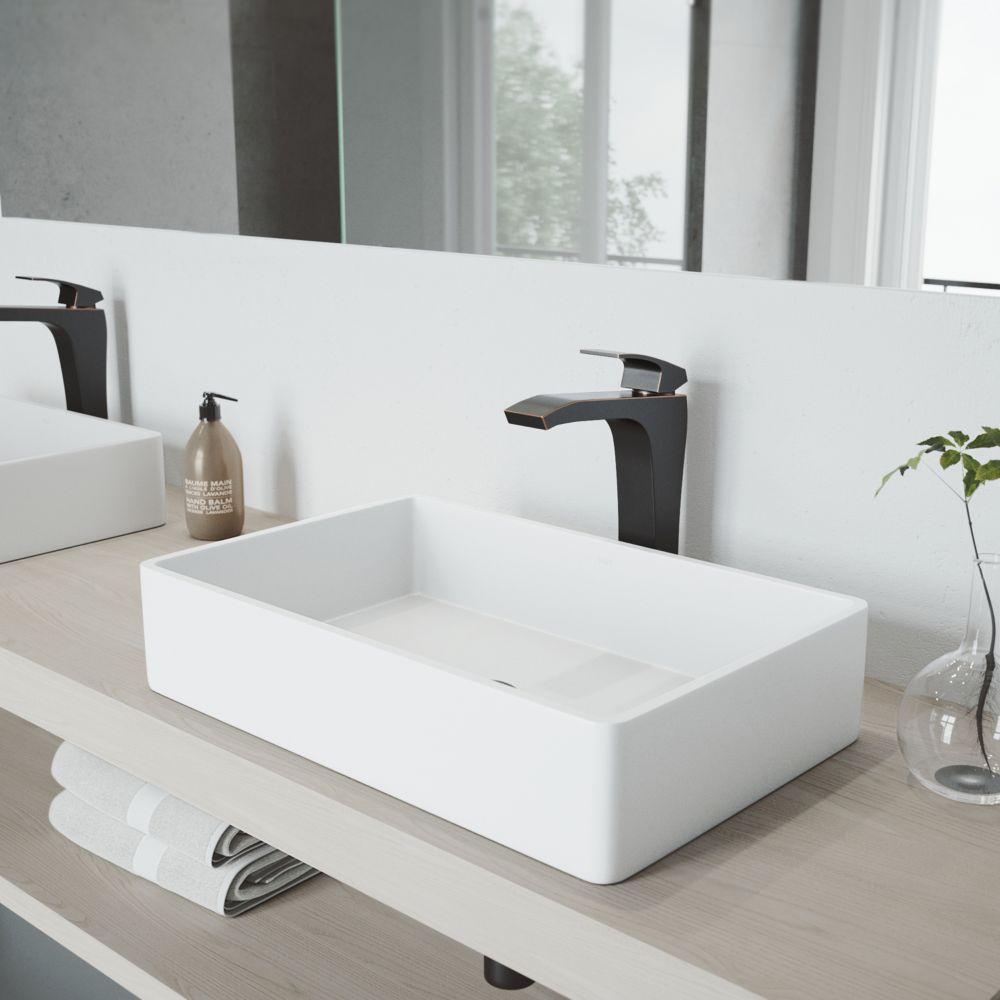 Vigo Magnolia Matte Stone Vessel Sink in White with Blackstonian Vessel Faucet in Antique Rubbed Bronze