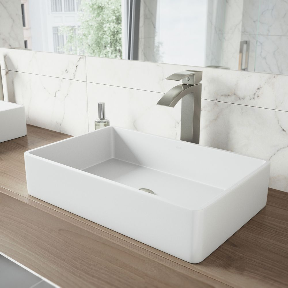 Vigo Magnolia Matte Stone Vessel Sink in White with Duris Vessel Faucet in Brushed Nickel