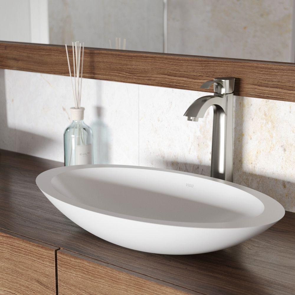 Vigo Wisteria Matte Stone Vessel Sink in White with Otis Vessel Faucet in Brushed Nickel