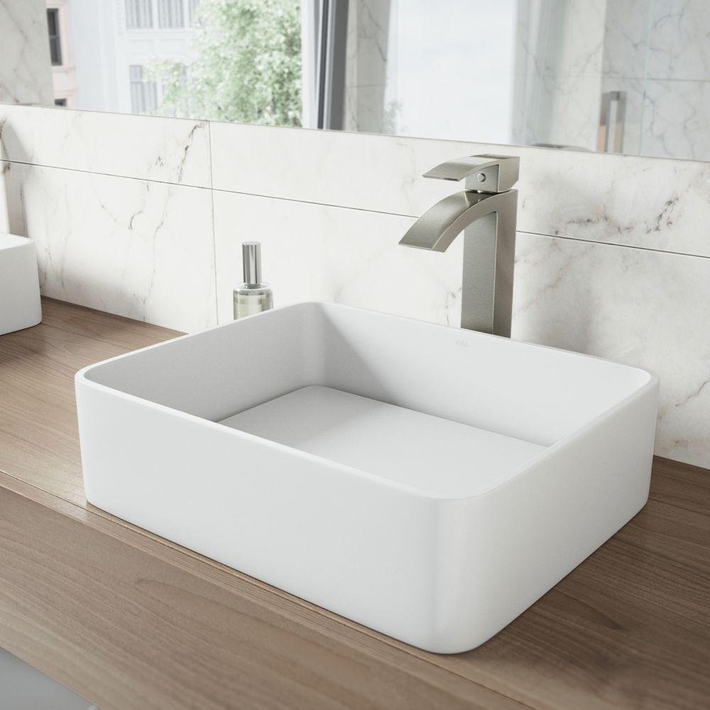 Vigo Jasmine Matte Stone Vessel Sink in White with Duris Vessel Faucet in Brushed Nickel
