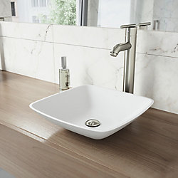 VIGO Hyacinth Matte Stone Vessel Bathroom Sink in White with Seville Vessel Faucet in Brushed Nickel