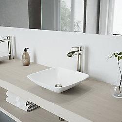 VIGO Hyacinth Matte Stone Vessel Bathroom Sink in White with Niko Vessel Faucet in Brushed Nickel