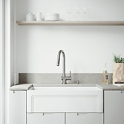 VIGO All-in-One Farmhouse Matte Stone 33 inch Single Bowl Kitchen Sink with Gramercy Faucet in Stainless Steel